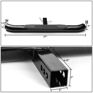 """KASEI - KASEI 3"""" ROUND Black  Hitch Steps Fits in Class III 2"""" Hitch Receiver 