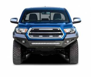 Exterior Accessories - Bumper - Black Horse Off Road - B | Armour Heavy Duty Front Bumper Kit| Black | Includes 1 30in LED Light Bar, 2 sets of 4in cube lights | AFB-TA20-K2