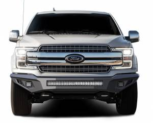 Exterior Accessories - Bumper - Black Horse Off Road - B | Armour Heavy Duty Front Bumper Kit| Black | Includes 1 30in LED Light Bar, 2 sets of 4in cube lights | AFB-F118-K1