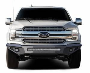 Exterior Accessories - Bumper - Black Horse Off Road - B | Armour Heavy Duty Front Bumper Kit| Black | Includes 1 30in LED Light Bar, 2 sets of 4in cube lights | AFB-F118-K2