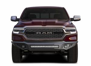 Exterior Accessories - Bumper - Black Horse Off Road - B | Armour Heavy Duty Front Bumper Kit| Black | Includes 1 30in LED Light Bar, 2 sets of 4in cube lights | AFB-RA18-K1