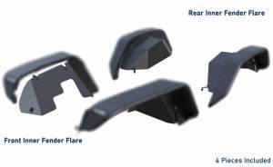 Products - Fender Flares - Black Horse Off Road - N | Tubular Inner Fender Flares | 4 Pieces | Black | TFFJL4
