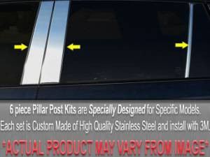BMW 3 Series 1999-2005, 4-door, Sedan (6 piece Stainless Steel Pillar Post Trim  ) PP25906 QAA