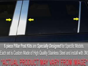 BMW 5 Series 1997-2003, 4-door, Sedan, 1997-2000 = 528i, 2001-2003 = 525i and 530i, 1997-2003 = 540i (6 piece Stainless Steel Pillar Post Trim  ) PP22931 QAA