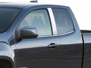 GMC Canyon 2015-2021, 4-door, Pickup Truck, Extended Cab (2 piece Stainless Steel Pillar Post Trim  ) PP55150 QAA