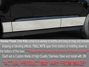 """Chevrolet Silverado 1992-1999, 4-door, Pickup Truck, C/K 1500 Extended Cab, Long Bed, Dually (10 piece Stainless Steel Rocker Panel Trim, Full Kit 9.25"""" Width Spans from the bottom of the molding to the bottom of the door.) TH32192 QAA"""