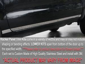 """Chevrolet Silverado 1999-2002, 3-door, Pickup Truck, 1500 Long Bed, w/ molding (7 piece Stainless Steel Rocker Panel Trim, Lower Kit 5.5"""" Width Spans from the bottom of the door UP to the specified width.) TH39186 QAA"""