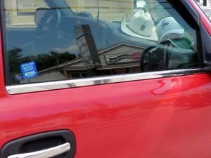 Chevrolet Silverado 2007-2013, 2-door, Pickup Truck, Regular Cab (2 piece Stainless Steel Window Sill Trim Set  ) WS47181 QAA