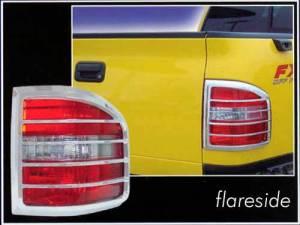 Ford F-150 2004-2008, 2-door, 4-door, Pickup Truck, Flareside (2 piece Chrome Plated ABS plastic Tail Light Bezels  ) TL44309 QAA