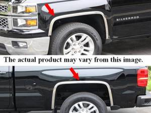 Chevrolet Colorado 2004-2012, 2-door, 4-door, Pickup Truck (4 piece Molded Stainless Steel Wheel Well Fender Trim Molding With Fender Flares Clip on or screw in installation, Lock Tab and screws, hardware included.) WZ44150 QAA