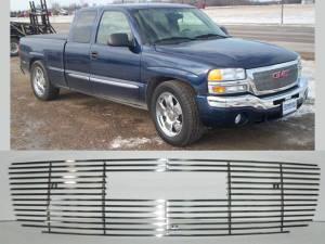GMC Sierra 2003-2006, 2-door, 4-door, Pickup Truck, 1500, 2500 (1 piece  Billet Grille Overlay  ) SGB43281 QAA