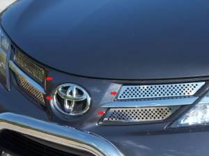 Toyota Rav4 2013-2015, 4-door, SUV (4 piece Stainless Steel Front Grille Accent Trim Insert Package ) SG13180 QAA