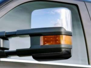 Chevrolet Silverado 2014-2018, 2-door, 4-door, Pickup Truck, 1500, 2500, 3500 (2 piece Chrome Plated ABS plastic Mirror Cover Set Tow Mirrors, Top only ) MC54182 QAA