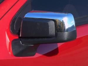 Chevrolet Silverado 2019-2021, 2-door, 4-door, Pickup Truck, 1500 (2 piece Chrome Plated ABS plastic Mirror Cover Set Top only, Snap on replacement set ) MC59170 QAA